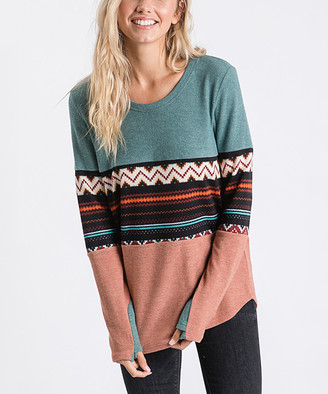 Love, Kuza Women's Tunics Jade/Marsala - Jade & Marsala Geometric Color-Block Thumbhole-Sleeve Tunic - Women