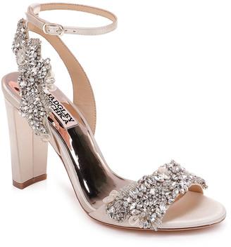 Badgley Mischka Libby Embellished Ankle-Wrap Sandals