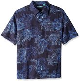 Cubavera Men's Big and Tall Chest Pocket All Over Paisley Printed Short Sleeve Woven Shirt
