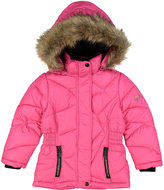 Weatherproof Fuchsia Pocket Faux-Fur Trim Hooded Puffer Coat - Girls