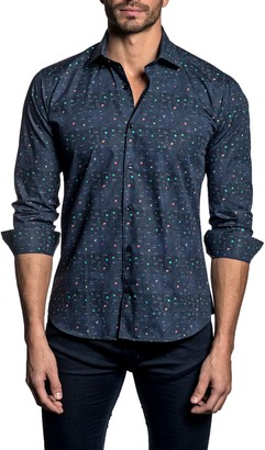 Jared Lang Trim Fit Constellation Button-Up Shirt