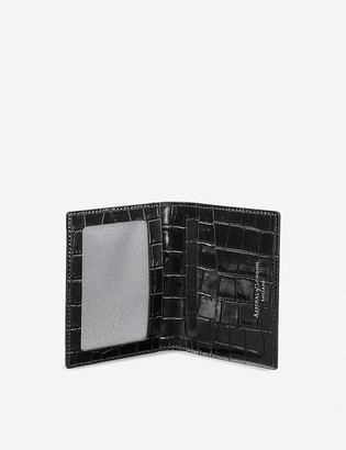 Aspinal of London ID & travel card croc-embossed leather case