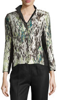 Lafayette 148 New York Silk Jacquard Jacket, Mint Multi