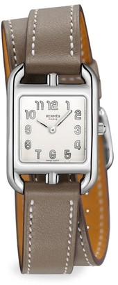Hermes Cape Cod 23MM Stainless Steel & Leather Double-Wrap Strap Watch