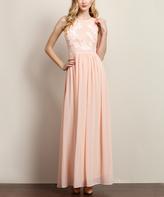 Pink Blush Appliqué Keyhole Back Maxi Dress