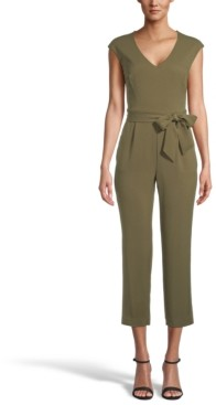 Bar III Crepe Belted Jumpsuit, Created for Macy's