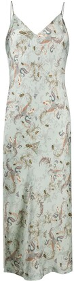 AllSaints Insect-Print Slip Dress