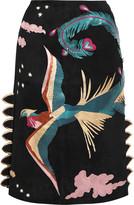 Valentino Metallic leather-appliquéd suede skirt