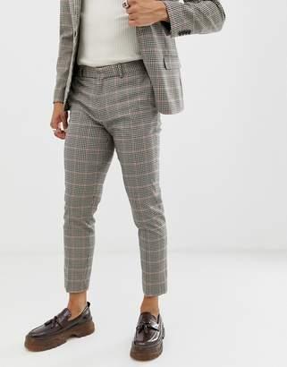 Asos Design DESIGN skinny suit trousers in brown gingham check