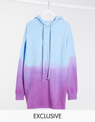 Collusion graphic print dip dye hoodie dress