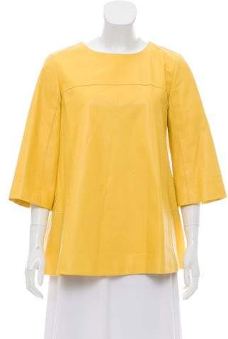 Lafayette 148 Three-Quarter Sleeve Leather Tunic