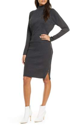 Eliza J Mock Neck Zipper Side Long Sleeve Sweater Dress