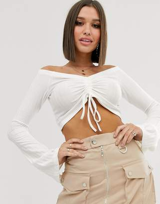 NA-KD Na Kd off shoulder ribbed crop top with drawstring in white