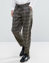 Asos Straight Pyjama Style Trousers In Khaki Check