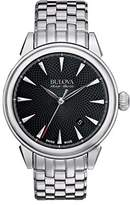 Bulova Accu Swiss Gemini Men's Automatic Watch with Black Dial Analogue Display and Silver Stainless Steel Bracelet 63B174