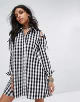 Glamorous Cold Shoulder Shirt Dress In Gingham