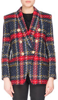 Balmain Double-Breasted Plaid Tweed Jacket, Red Pattern