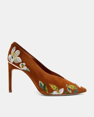 Ted Baker Embroidered Suede Courts