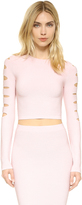 Cushnie et Ochs Long Sleeve Slashed Crop Top