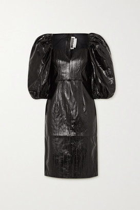 Rotate by Birger Christensen Irina Faux Patent-leather Dress - Black