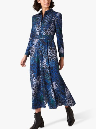 Monsoon Andrea Animal Print Shirt Dress, Cobalt