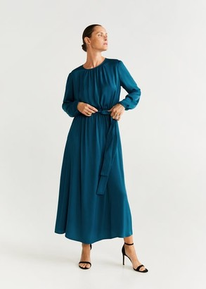 MANGO Flowy belt dress prussian blue - 8 - Women