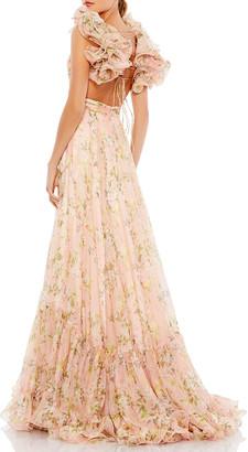 Mac Duggal Floral Chiffon Ruffle-Strap Gown