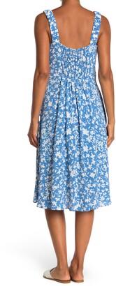 Sandra Darren Floral Print Square Neck Midi Dress
