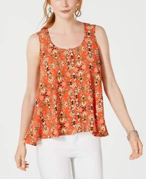 Style&Co. Style & Co Petite Printed Sleeveless High-Low Swing Top, Created for Macy's