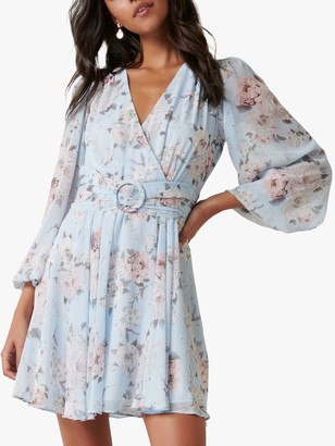 Forever New Stevie Floral Mini Dress, Sky Peony Blossom
