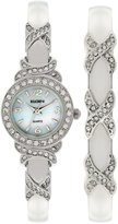 Elgin Women's XO Watch And Bracelet Bangle Set, Silvertone
