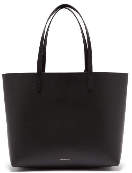 Mansur Gavriel Red Lined Large Leather Tote Bag - Womens - Black Red