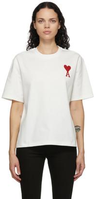 Ami Alexandre Mattiussi White Embroidered Ami De Coeur T-Shirt