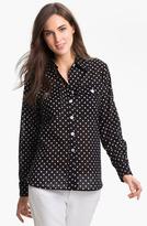 Belle Fleur Bellefleur Roll Sleeve Polka Dot Shirt