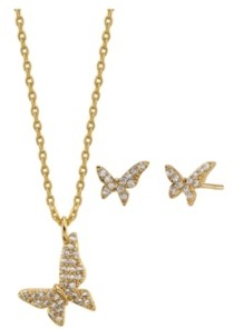 Unwritten 2-Pc. Set Cubic Zirconia Mini Butterfly Necklace & Stud Earrings in Gold Tone Fine Plated Silver, Created for Macy's