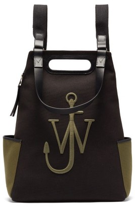 J.W.Anderson Anchor Logo-embroidered Canvas Backpack - Khaki Multi