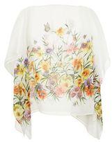 Marina Rinaldi Floral Print Sheer Batwing Top