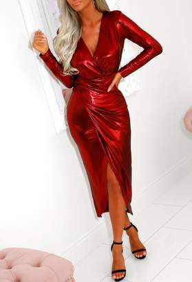 Pink Boutique Popping Champagne Red Long Sleeve Metallic Wrap Midi Dress
