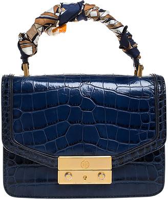Tory Burch Blue Crocodile Embossed Leather Juliette Top Handle Bag