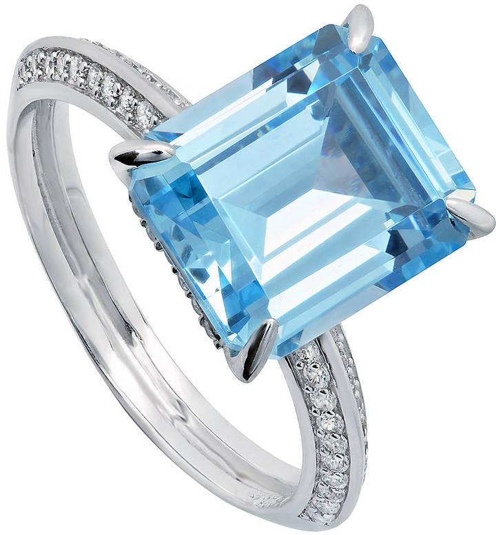 Crislu Sterling Silver & Platinum Aquamarine Ring