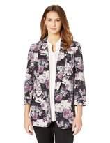 Nine West Women's 3/4 ROLL TAB Sleeve Notch Collar Crepe KISS Front Jacket