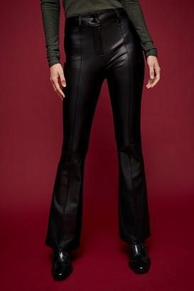 Topshop Womens Idol Black Pu Flare Trousers - Black