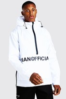boohoo Mens White MAN Official Front Pocket Half Zip Cagoule, White
