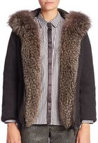 Brunello Cucinelli Fur-Trim Hooded Cashmere Cardigan