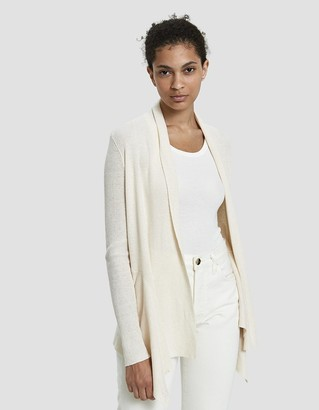 Which We Want Women's Kandance Draped Cardigan Sweater in Oatmeal, Size Large | Wool