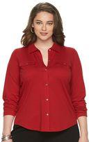 Chaps Plus Size Solid Knit Button-Down Shirt