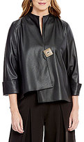 IC Collection Asymmetrical Hem Faux-Leather Jacket