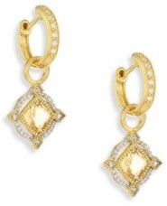 Jude Frances Lisse Diamond, Champagne Citrine & 18K Yellow Gold Halo Earring Charms