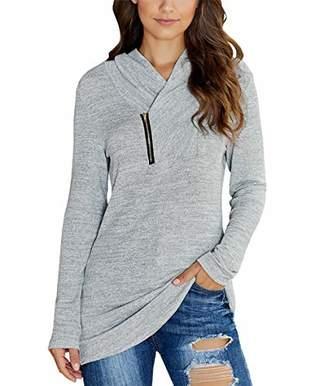KIRUNDO 2019 Winter Women's Long Sleeves Pullover Zipper Cowl Neck Tops Solid Color Sporty Sweatshirts (