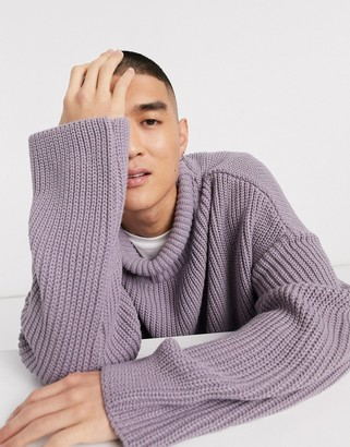 Asos DESIGN oversized funnel neck sweater in dusty lilac